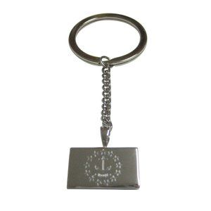 Etched Rhode Island State Flag Pendant Keychain